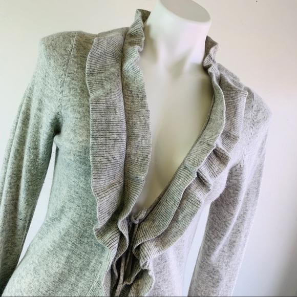BCBGMaxAzria Sweaters - BCBGMAXAZRIA Ruffled Open Front Sweater M